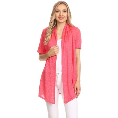 MOA COLLECTION Women's Solid Casual Comfy Short Sleeve Open Front Draped Sweater Cardigan/Made in USA