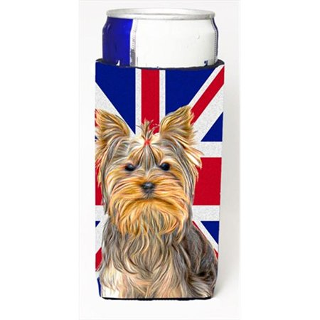 Yorkie & Yorkshire Terrier with English Union Jack British Flag Michelob Ultra bottle sleeves for slim cans  12 Oz. - image 1 de 1