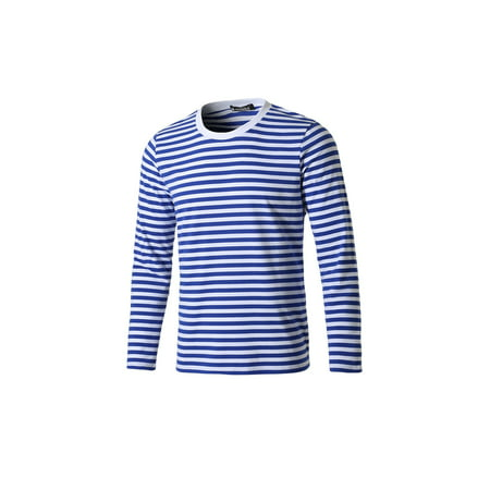 Unique Bargains Men's Basic Casual Pullover Crew Neck Long Sleeve Striped Tee T