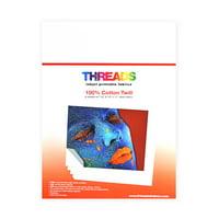 Threads Inkjet Printable Fabrics Cotton Twill 8 1/2in x 11in