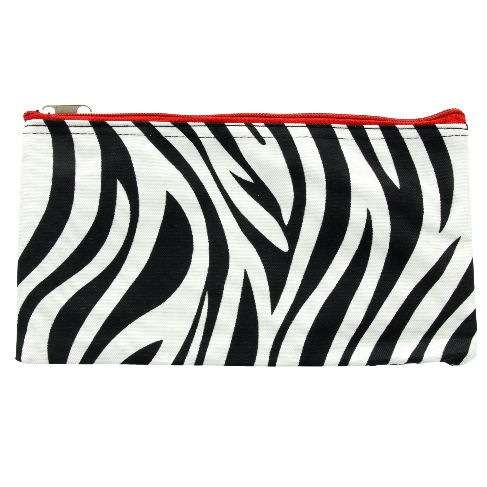 "11"" Zebra Print Zip Cosmetic Travel School Makeup Brush Bag Pouch w/ Red Trim"