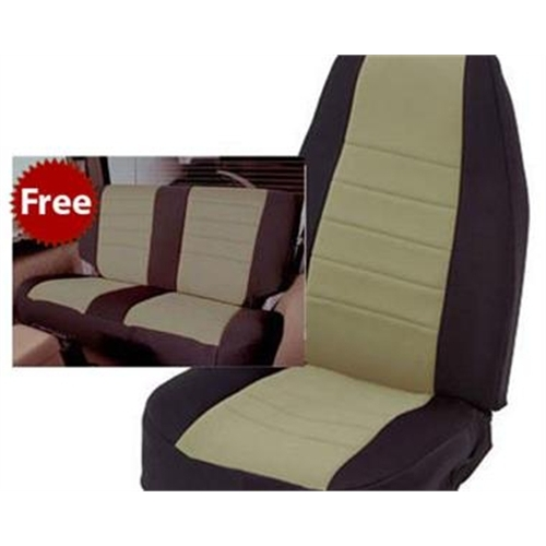 Smittybilt Neoprene Front and Rear Seat Covers with Black Sides / Tan Center 471225