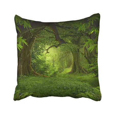 BPBOP Green Forest Tropical Jungle Fantasy Rain Light Myanmar Amazon Asia Bamboo Pillowcase Pillow Cushion Cover 20x20 inches