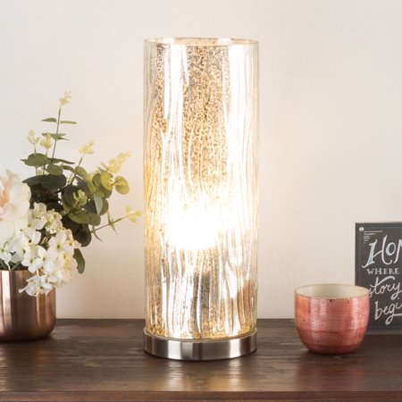 LED Uplight Table Lamp with Silver Mercury Finish, Textured Tree Bark Pattern and Included LED Light Bulb for Home Uplighting by Lavish - Tulip Lamp Pattern