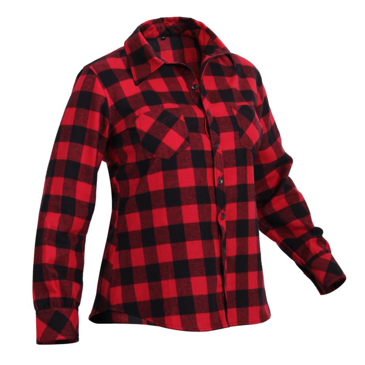 Womens Plaid Flannel Shirt, Red Plaid