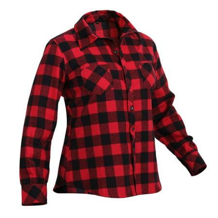 Womens Plaid Flannel Shirt, Red Plaid