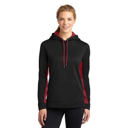 LST235 Ladies Sport-Wick Fleece Colorblock Hooded Pullover, Black & Deep Red - Small