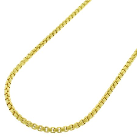 14K Yellow Gold 2mm Round Box Link Chain Necklace 16