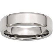 Stainless Steel Beveled Edge 6mm Polished Band, Available in Multiple Sizes