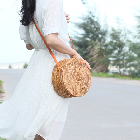 Bamboo Satchel (Fashion Women Handmade Round Rattan Bags Woven Straw Bag Bamboo Shoulder bag Summer Beach )