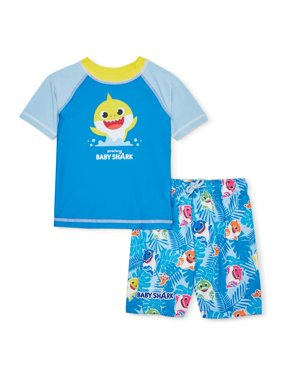 Baby Shark Toddler Boy Rashguard & Swim Trunks, 2pc Set