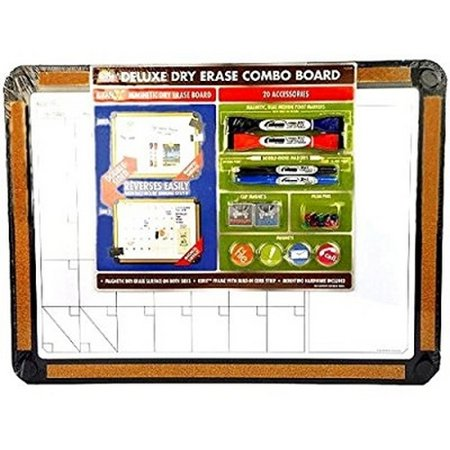 Euro Reversible Board - Corx Deluxe Dry Erase Board Combo Magnetic Reversible 20Pc Set 17x23