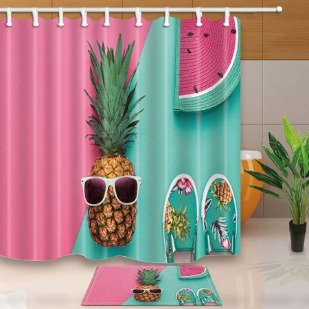 - ARTJIA Fruit Art Decor Tropical Pineapple with Sunglasses and Watermelon Shower Curtain 66x72 inches with Floor Doormat Bath Rugs 15.7x23.6 inches