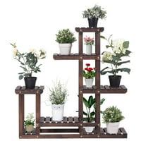 Costway Outdoor Wooden Flower Plant Stand 6 Shelve Deals