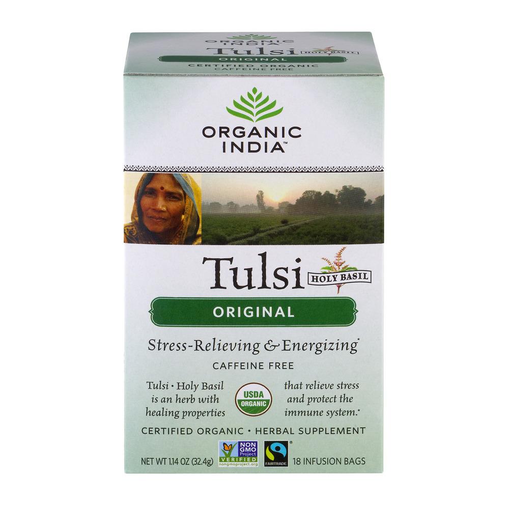 Organic India Tulsi Holy Basil Herbal Supplement Infusion Bags Original - 18 CT