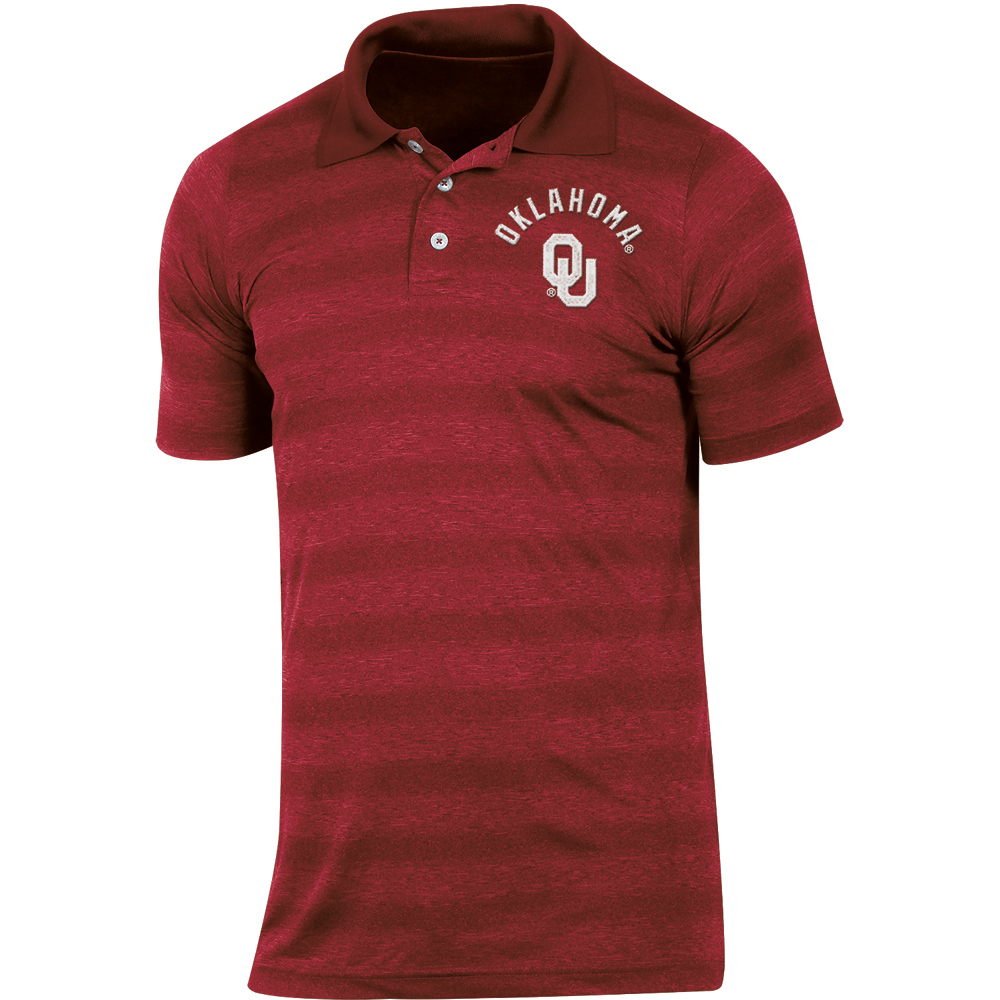 Men's Russell Crimson Oklahoma Sooners Classic Fit Striped Synthetic Polo
