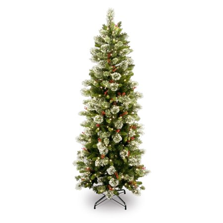 National Tree Pre-Lit 7-1/2' Wintry Pine Slim Hinged Artificial Christmas Tree with 400 Clear