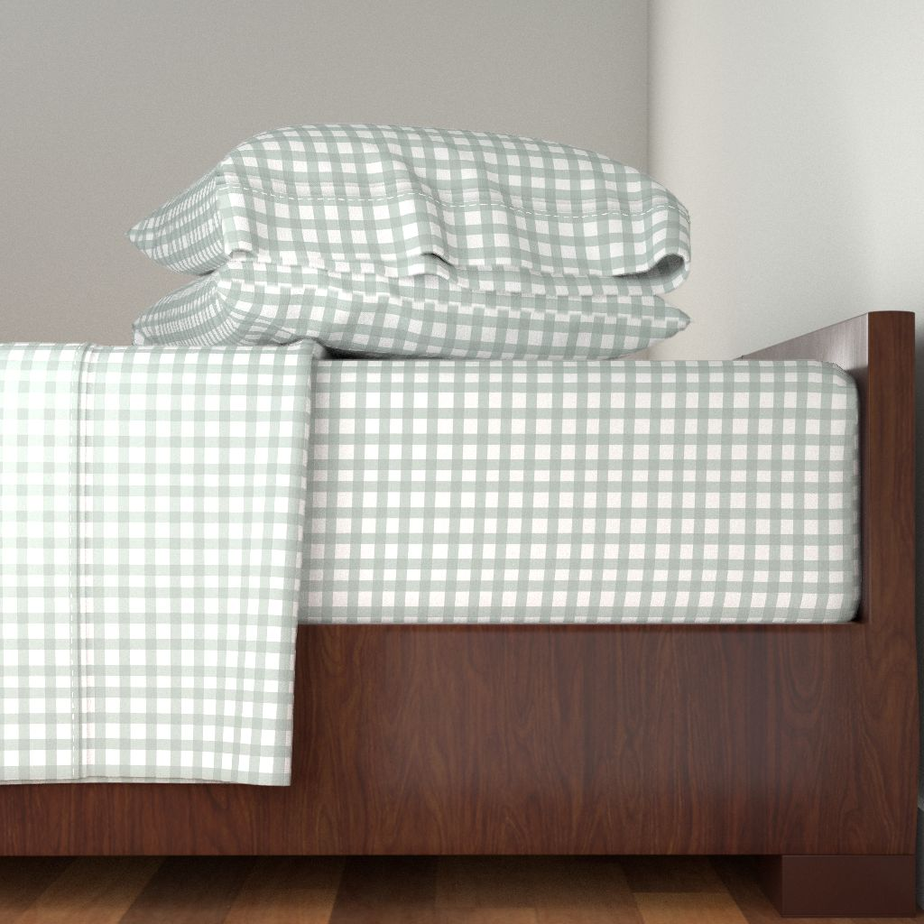 Checks Watercolor Checkered Mint Green 100% Cotton Sateen Sheet Set by Roostery