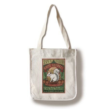 Brevard, North Carolina - White Squirrel Vintage Sign - Lantern Press Artwork (100% Cotton Tote Bag - Reusable) (Carolina Pr)