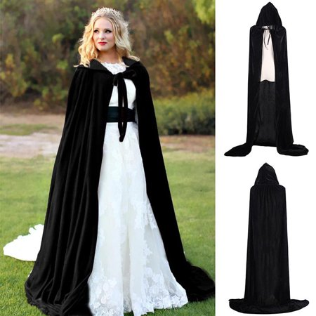 Halloween Hooded Velvet Cloak Robe Medieval Witchcraft Cape Robe Costume Adult Cosplay (Best Cosplay Costume Shop)