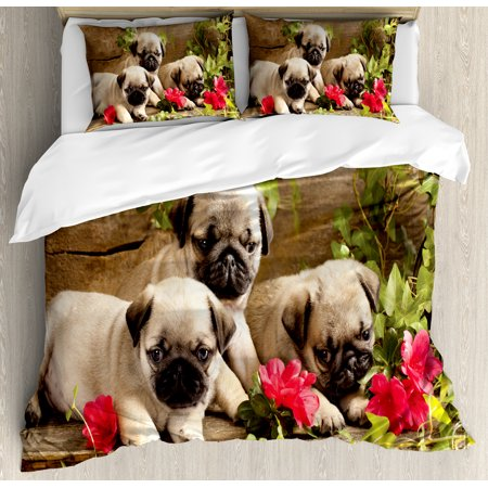 Pug Duvet Cover Set Cute Sibling Puppies With Floral Arrangement In