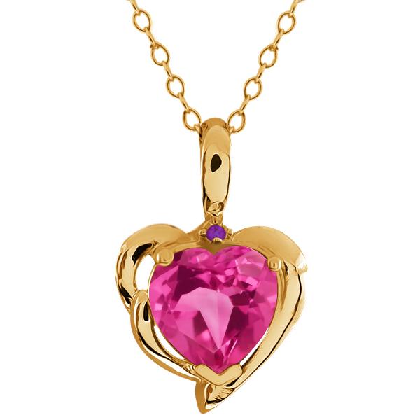 2.22 Ct Heart Shape Pink Mystic Topaz Purple Amethyst 18K Yellow Gold Pendant by