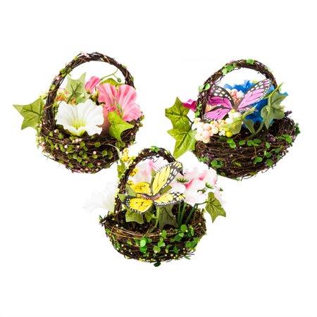 Spring Floral Mini Basket, 3 ASST