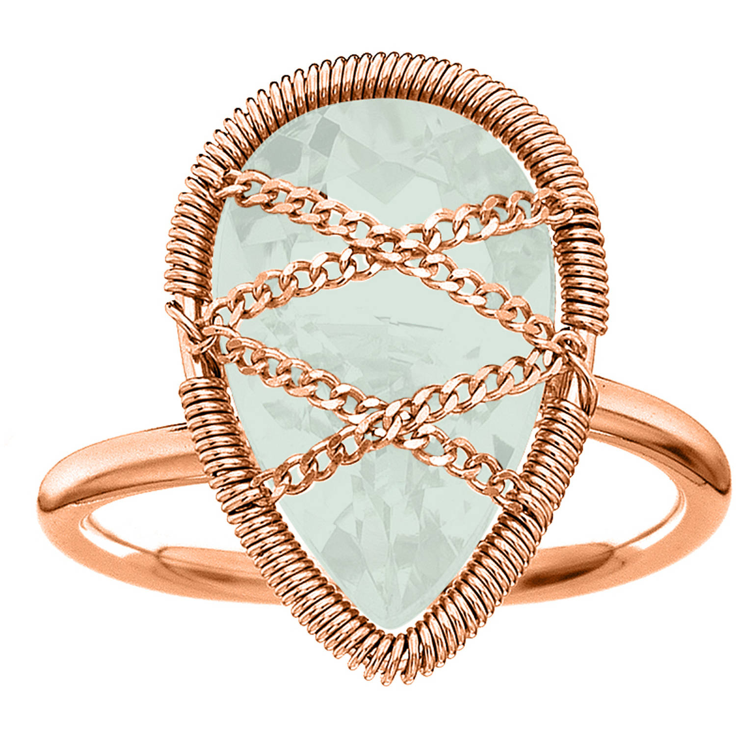 5th & Main Rose Gold over Sterling Silver Hand-Wrapped Teardrop Chalcedony Stone Ring by Generic