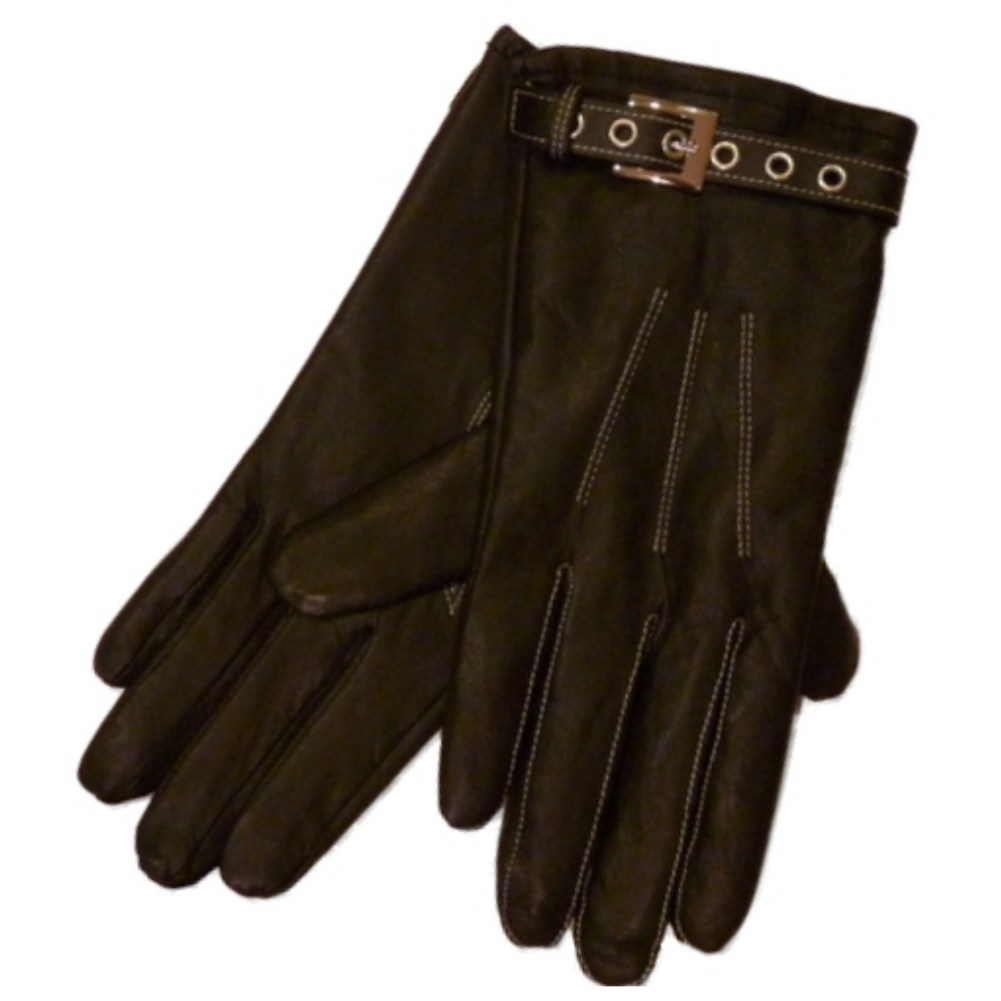Fownes Womens Black  Leather Driving Gloves with Grommet Buckles XL