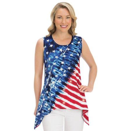 Women's 4th of July Tank Top Patriotic Flag Tie Dye Sleeveless Shirt with Sequin Detail & Sharkbite Hem, Large, (Large Sleeveless)
