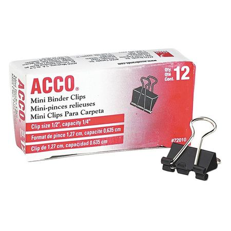Acco Brands, Inc. Mini Binder Clips, Steel Wire, 1/4'' Capacity, Dozen