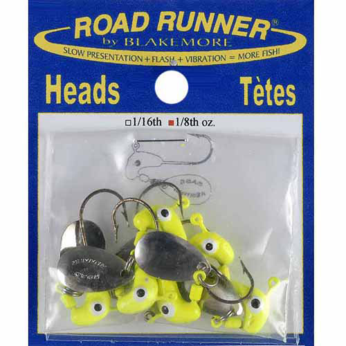 Road Runner Heads, 1/8 oz, Chartreuse