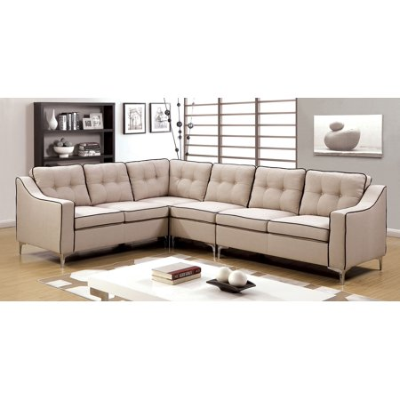 Sectional Beige Color Fabric Tufted Back Chrome Legs Sofa Chair Wedge  Contemporary L-Shaped Sectionals Couch