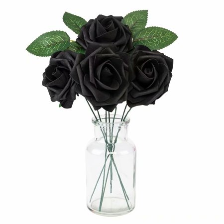25PCS Artificial Flowers Foam Roses With Stem for DIY Wedding Bouquets Rose Wedding Home Hotel Birthday Party Anniversary Floral Decoration (Black)