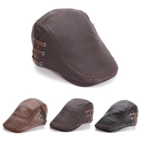 Leather Winter Cap (Winter Artificial Leather Ivy Hat Men Ivy Cap Beret Newsboy Hat )