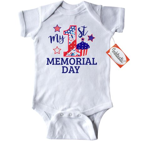 Inktastic My 1st Memorial Day With Cupcake And Stars Infant Creeper Baby Bodysuit Kids Red White Blue Memorail First Pattern Stripes Gift One-piece