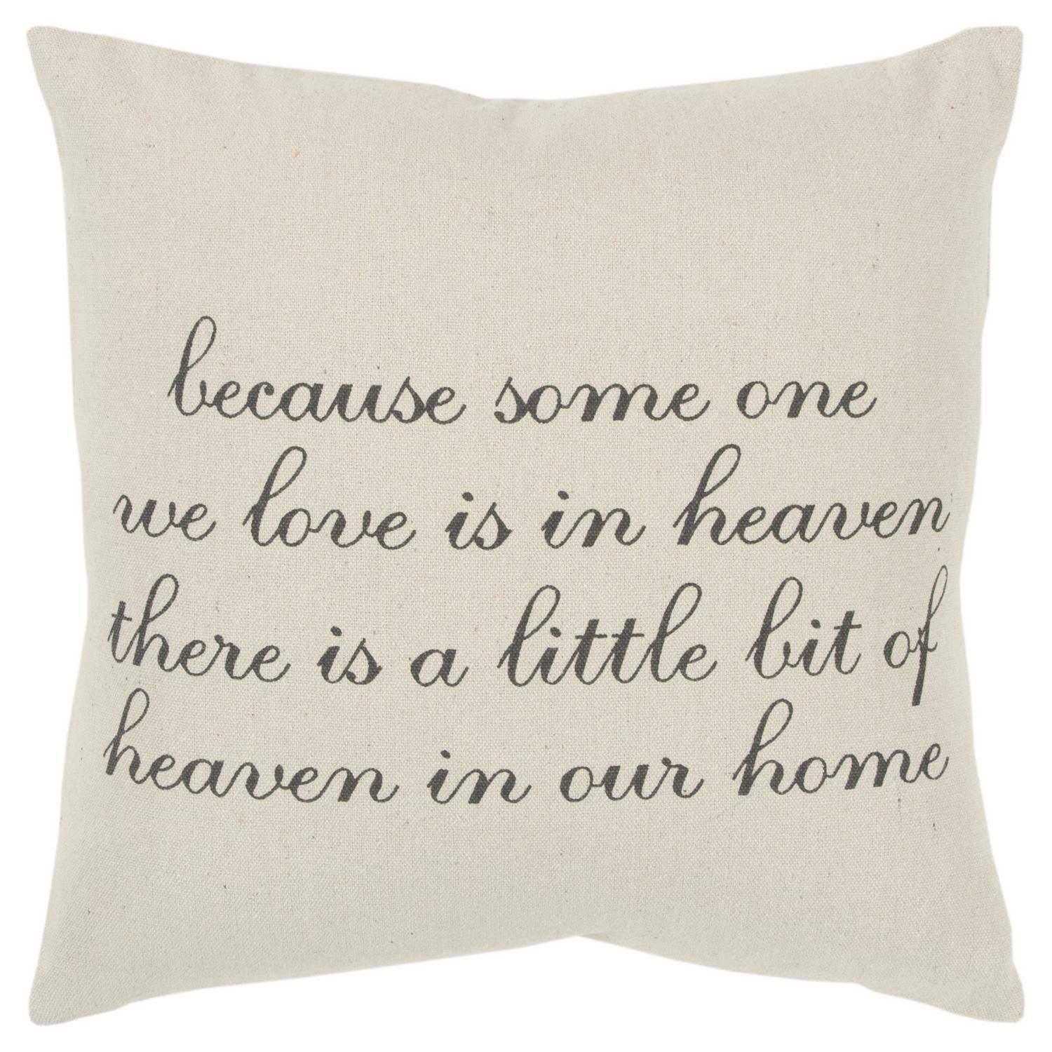 "Rizzy Home Holiday ""Because Someone We Love"" Poly Filled Decorative Throw Pillow, 20"" x 20"", Natural"