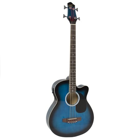 Best Choice Products 22-Fret Full Size Acoustic Electric Bass Guitar w/ 4-Band Equalizer, Adjustable Truss Rod, Solid Construction - Blue Double Cutaway Electric Bass