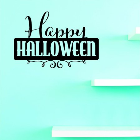 Custom Decals Happy Halloween Wall Art Size: 12 X 18 Inches Color: Black - Happy Halloween 18+