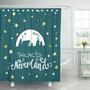 SUTTOM Take Me to Neverland Lettering Illustration Travel and Adventure Concept Shower Curtain 60x72 inch