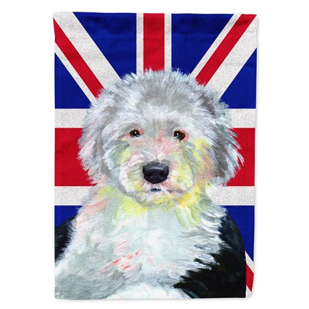 Old English Sheepdog with English Union Jack British Flag Garden Flag