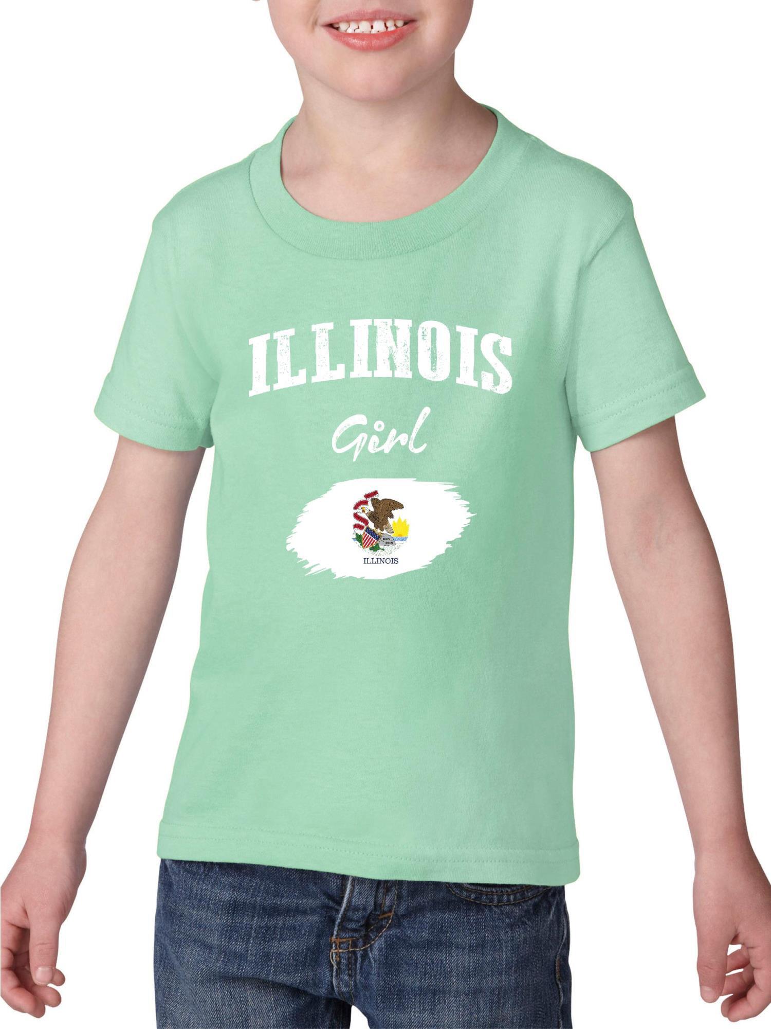 Illinois Girl Heavy Cotton Toddler Kids T-Shirt Tee Clothing