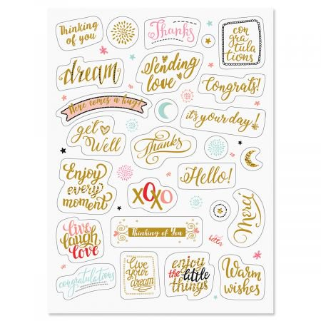 Metallic Stickers (Foil All Occasion Words Stickers - 52 Metallic Stickers on two 8-1/2