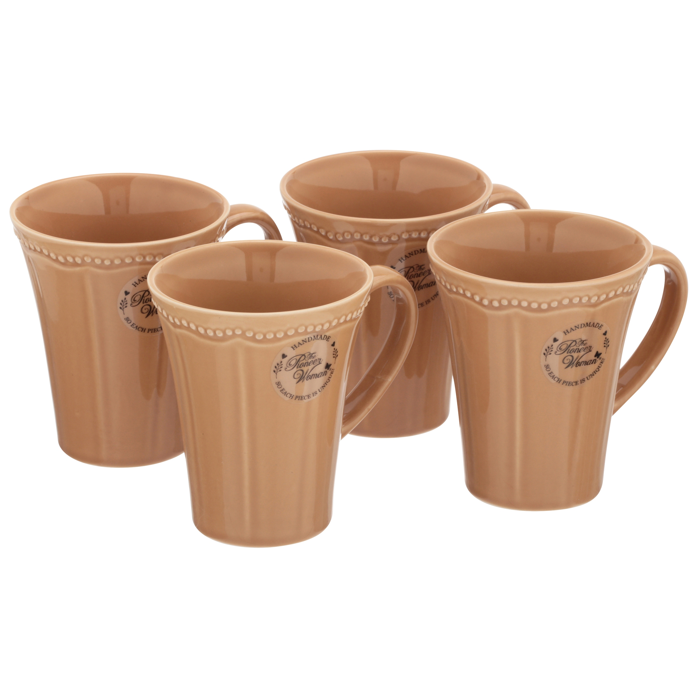 The Pioneer Woman Paige 4-Piece Transparent Glaze Mug Set