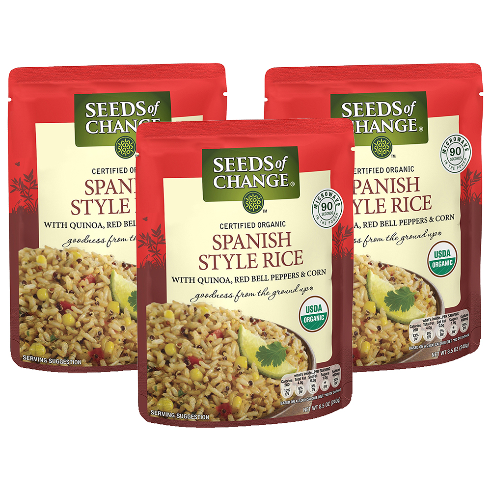 (36 Pack) SEEDS OF CHANGE Organic Spanish Style Rice, 8.5oz