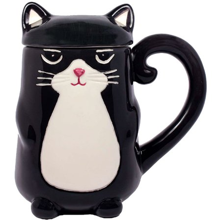Black Kitty Cat Feline Shaped Coffee Mug With Tail Handle And Ears On Lid ()