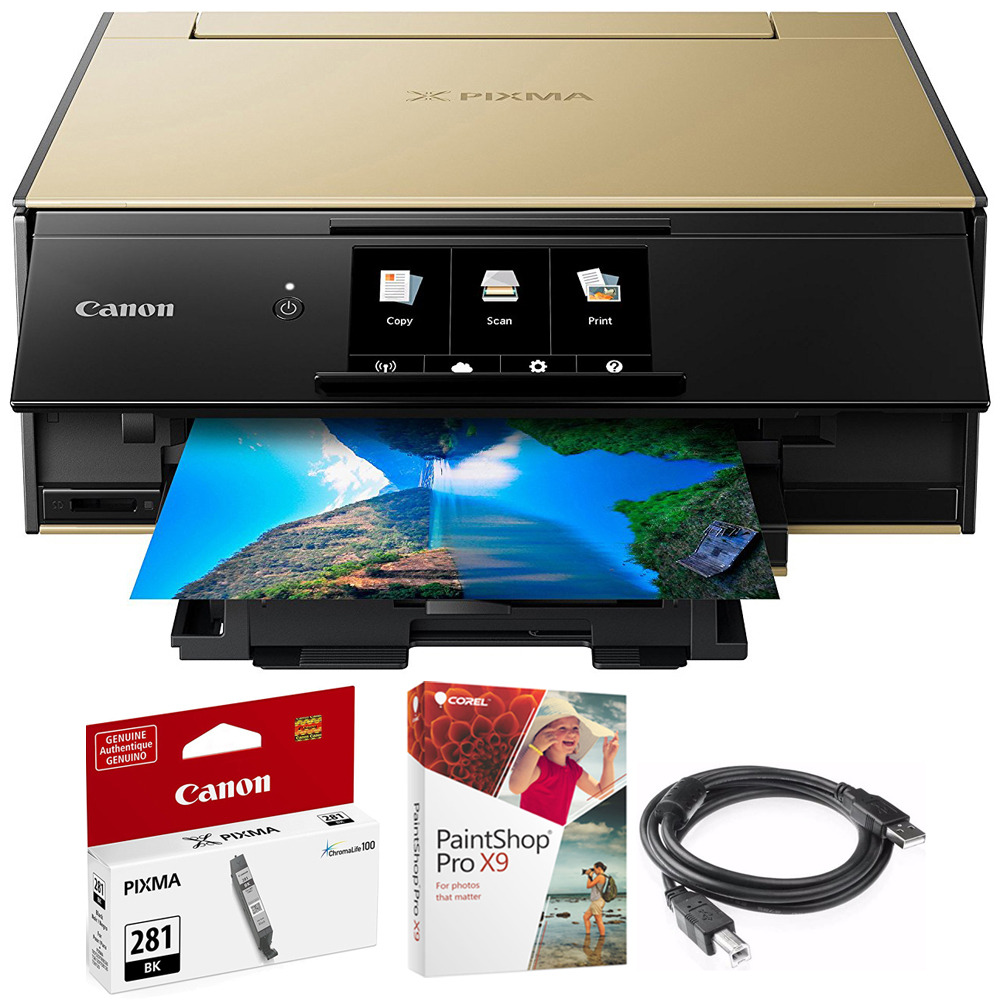 Canon PIXMA 9120 Wireless All-In-One Printer Gold (2231C022) CLI-281 Black Ink Tank, Corel Paint Shop Pro X9 Digital Download & High Speed 6-foot USB Printer Cable