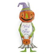 """38.5"""" White Harvest Pumpkin Friend """"Trick or Treat"""" Metal Garden Yard Stake"""