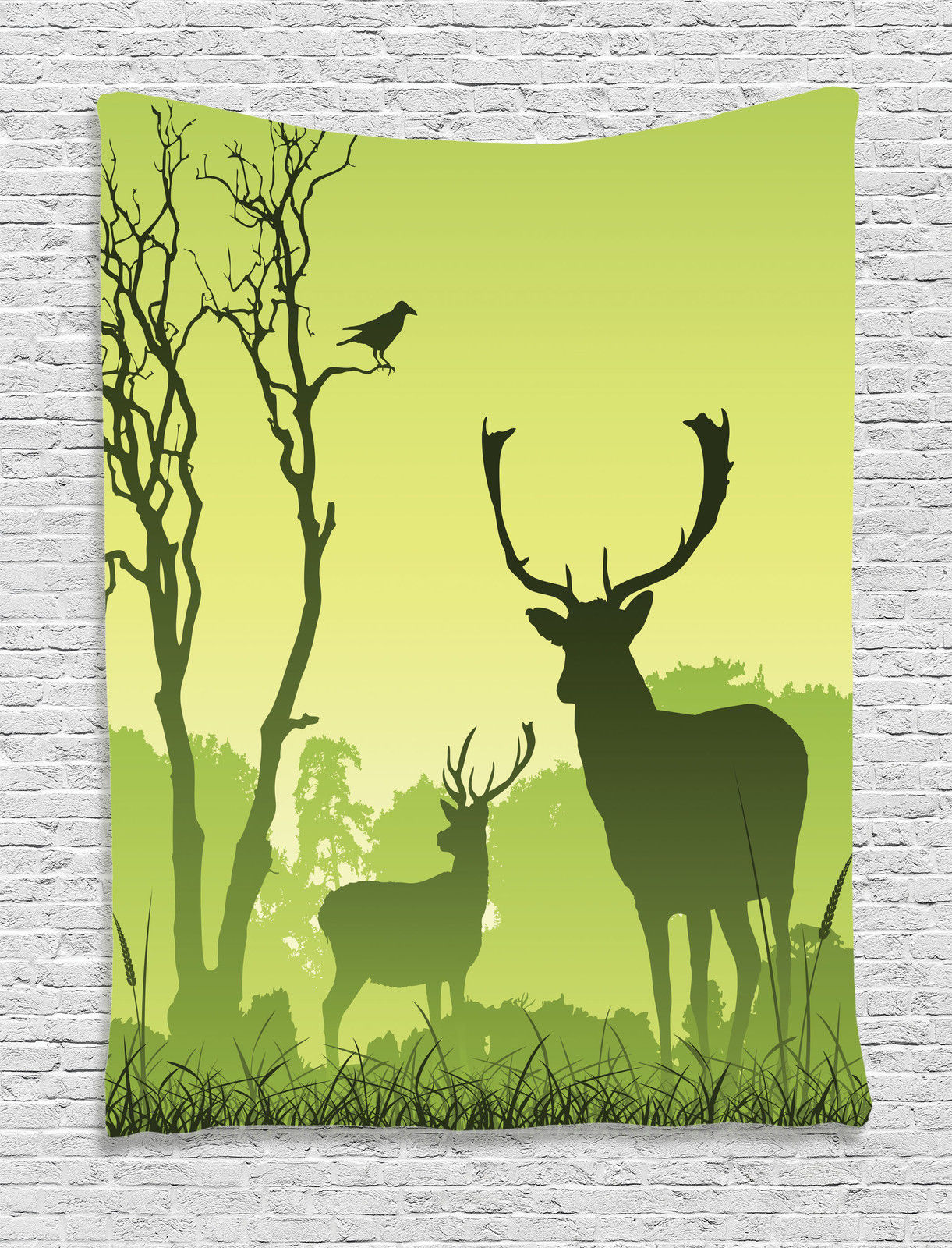 Antlers Decor Wall Hanging Tapestry, Male Deer On A Meadow With ...