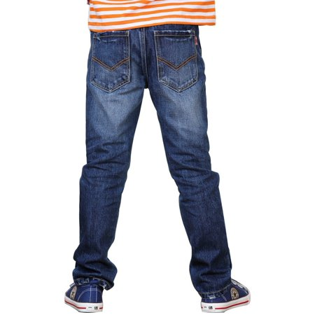 Leo&Lily Boys' Kids' Husky Waist Cotton Denim Regular Fit Jeans - Cotton Denim Pants
